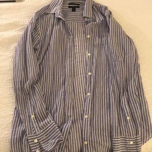 Purple and white striped long sleeve button down